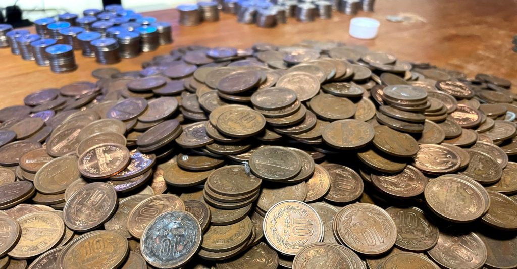 larger amount of coins